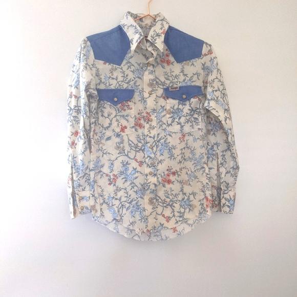 Vintage 70s Wrangler Pearl Snap Western Shirt Floral Size 16